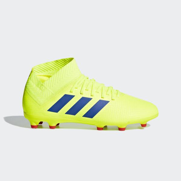 16adf25975bc Nemeziz 18.3 Firm Ground Cleats Solar Yellow   Football Blue   Active Red  CM8505