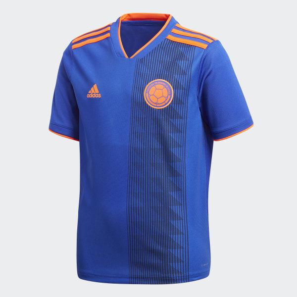 4666aee84cd7f Camiseta Oficial Selección de Colombia Visitante Niño 2018 BOLD BLUE SOLAR  RED BR3493