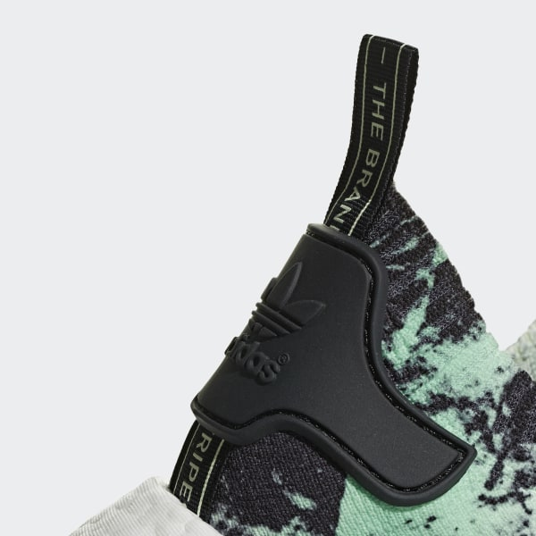 dafe00989 NMD R1 Primeknit Shoes Core Black   Cloud White   Aero Green BB7996