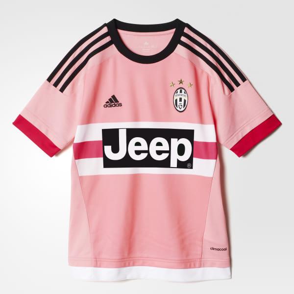 Camiseta de Visitante Juventus 2015 2016 Niños PINK BRIGHT PINK BLACK WHITE d5be9d358d82a