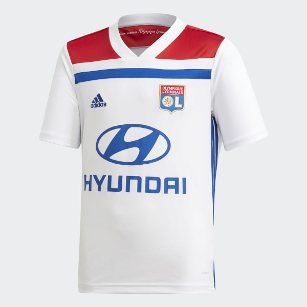 dcc4ef438 Olympique Lyonnais Home Jersey White   Collegiate Red CK3175