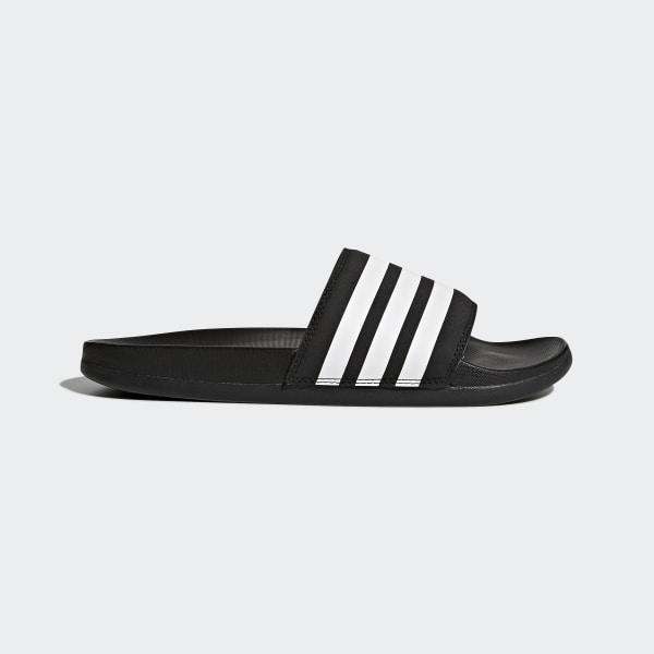 20fa2a26e Adilette Cloudfoam Plus Stripes Slides Core Black   Cloud White   Core  Black AP9966