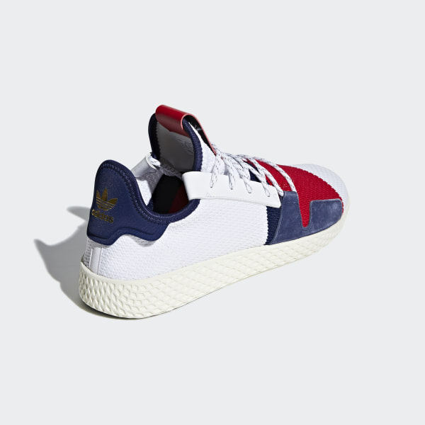 23ee8fccc Pharrell Williams BBC Hu V2 Shoes Cloud White   Scarlet   Dark Blue BB9549