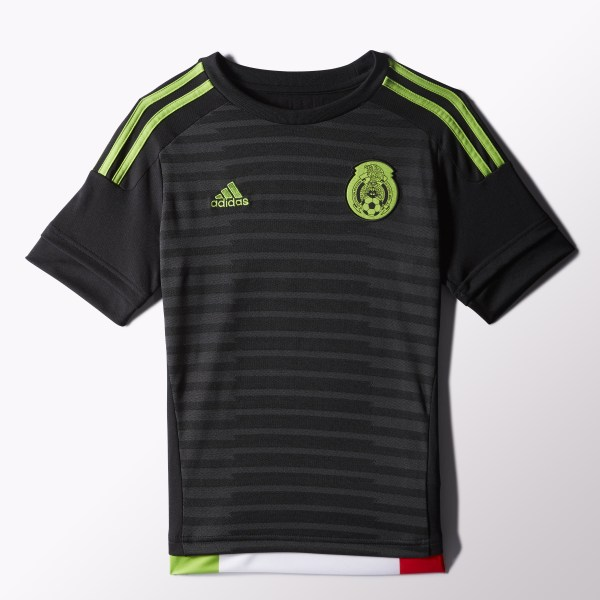 a8d96820f3176 Jersey Selección Mexicana Local 2015 2016 Niños BLACK DARK GREY SEMI SOLAR  GREEN