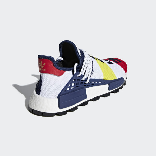9f5b998e0 Pharrell Williams BBC Hu NMD Shoes Cloud White   Scarlet   Dark Blue BB9544