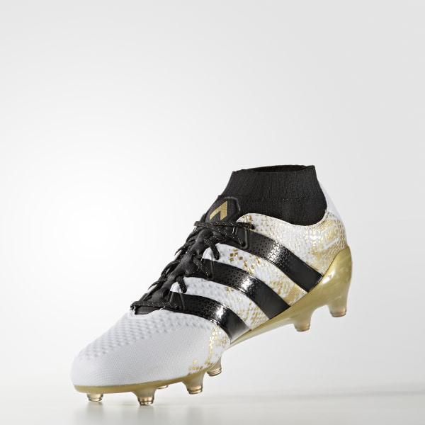 Botines de fútbol suelo firme ACE 16.1 PRIMEKNIT WHITE CORE BLACK GOLD MET. 4c969b9b7975b