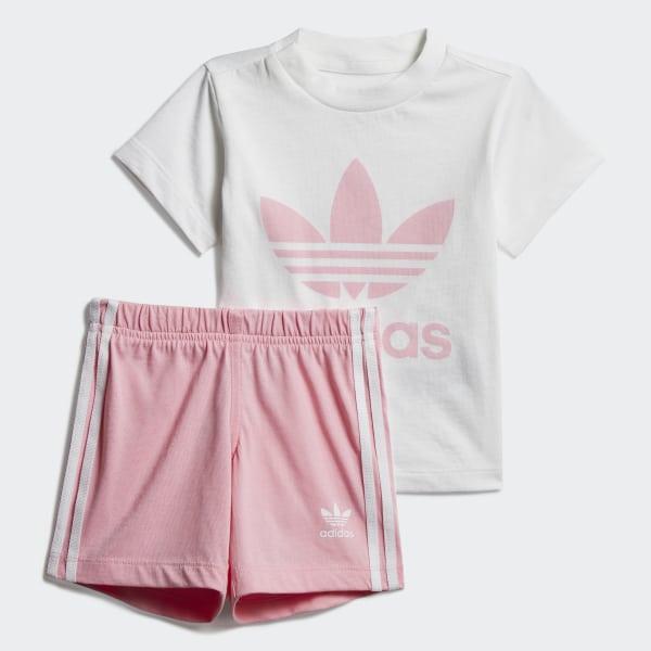 3af7bbec27c Trefoil Shorts Tee Set White   Light Pink DV2815
