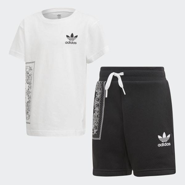 Conjunto camiseta y pantalón corto Bandana White   Black DW3839 085941b7cc343