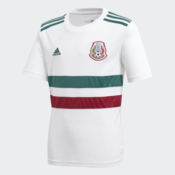 171dd367f56af Jersey Oficial Selección de México Visitante Niño 2018 WHITE COLLEGIATE  GREEN COLLEGIATE BURGUNDY BQ4687