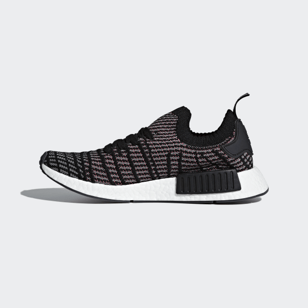 4c0a55f0525fa NMD R1 STLT Primeknit Shoes Core Black   Grey Four   Solar Pink CQ2386