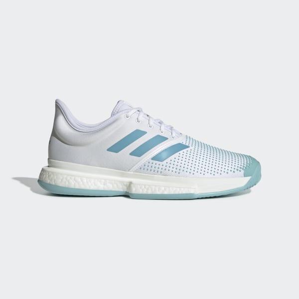 266a07c5084 Sapatos SoleCourt Boost Parley Ftwr White   Vapour Blue   Blue Spirit G26295