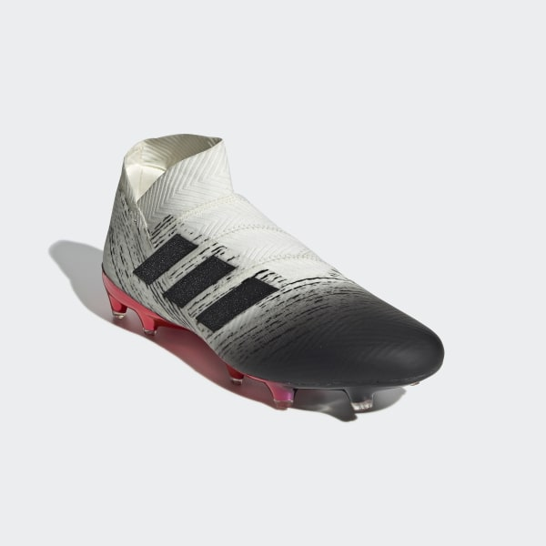 8061ccbb28f Nemeziz 18+ Firm Ground Boots Off White   Core Black   Active Red BB9419