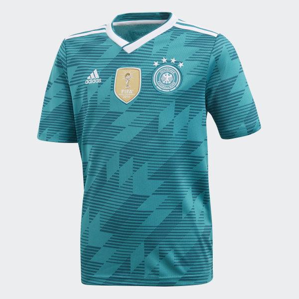 12e985afa9268 Camiseta Oficial Selección de Alemania Visitante Niño 2018 EQT GREEN  S16 WHITE REAL TEAL