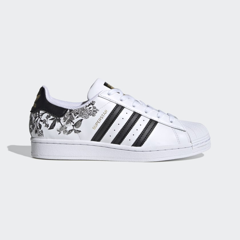 Women's Superstar Cloud White and Black Floral Shoes | adidas US