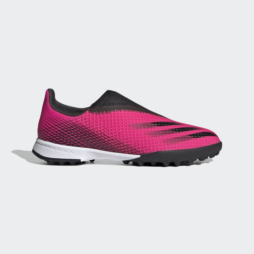 X GHOSTED.3 LACELESS TF FUSSBALLSCHUH Shock Pink