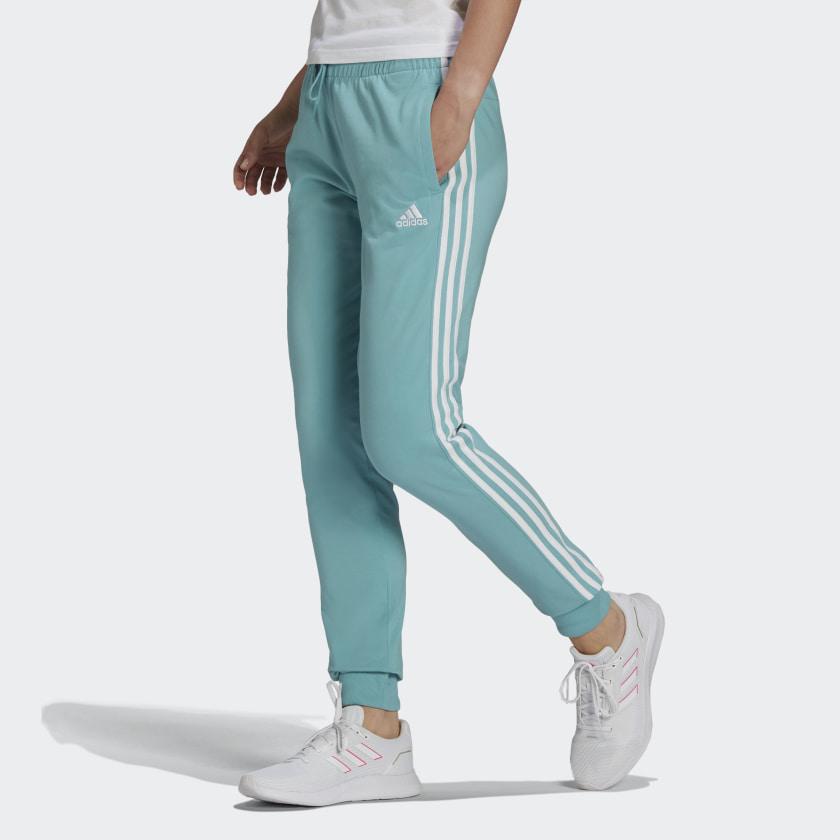 adidas Essentials Single Jersey 3-Stripes Pants - Green | adidas US