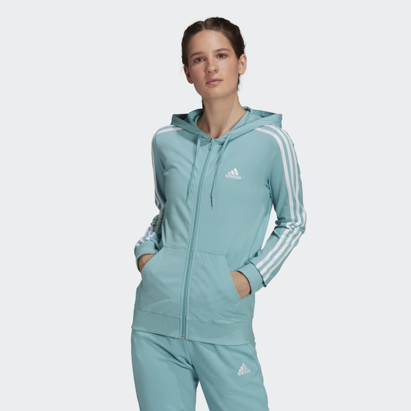 adidas Essentials Single Jersey 3-Stripes Full-Zip Hoodie - Green | adidas US
