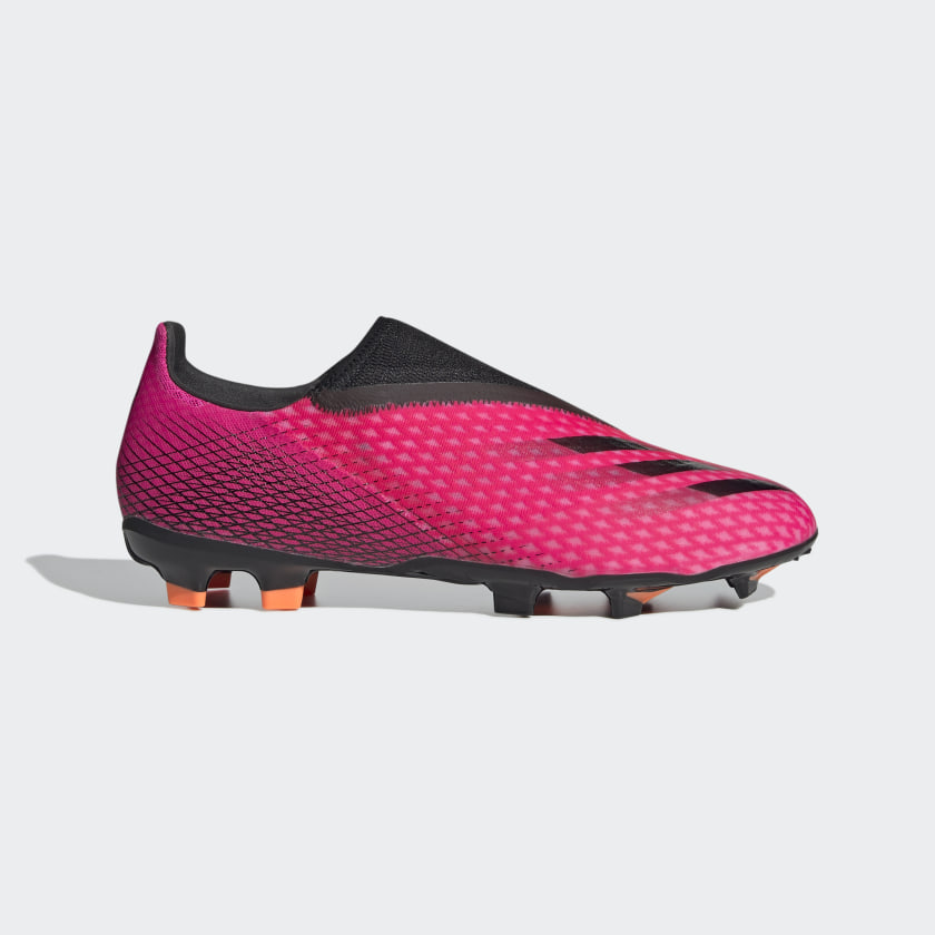 X GHOSTED.3 LACELESS FG FUSSBALLSCHUH Shock Pink