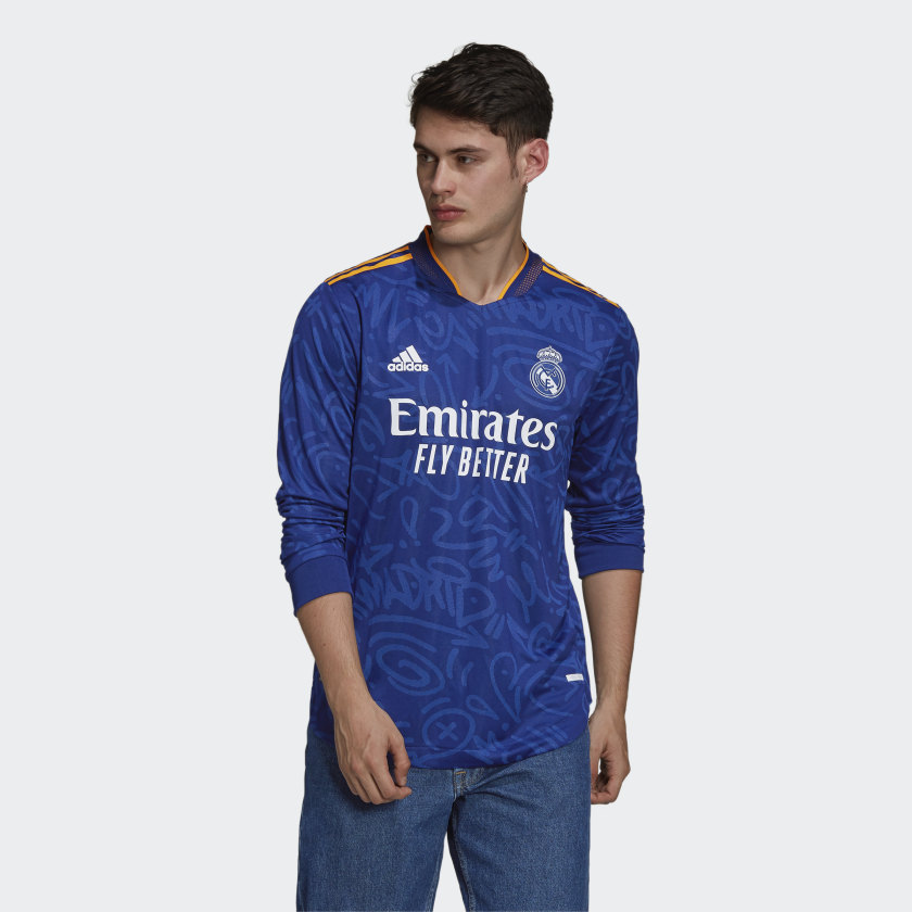 adidas Real Madrid 21/22 Long Sleeve Away Authentic Jersey - Blue | adidas US