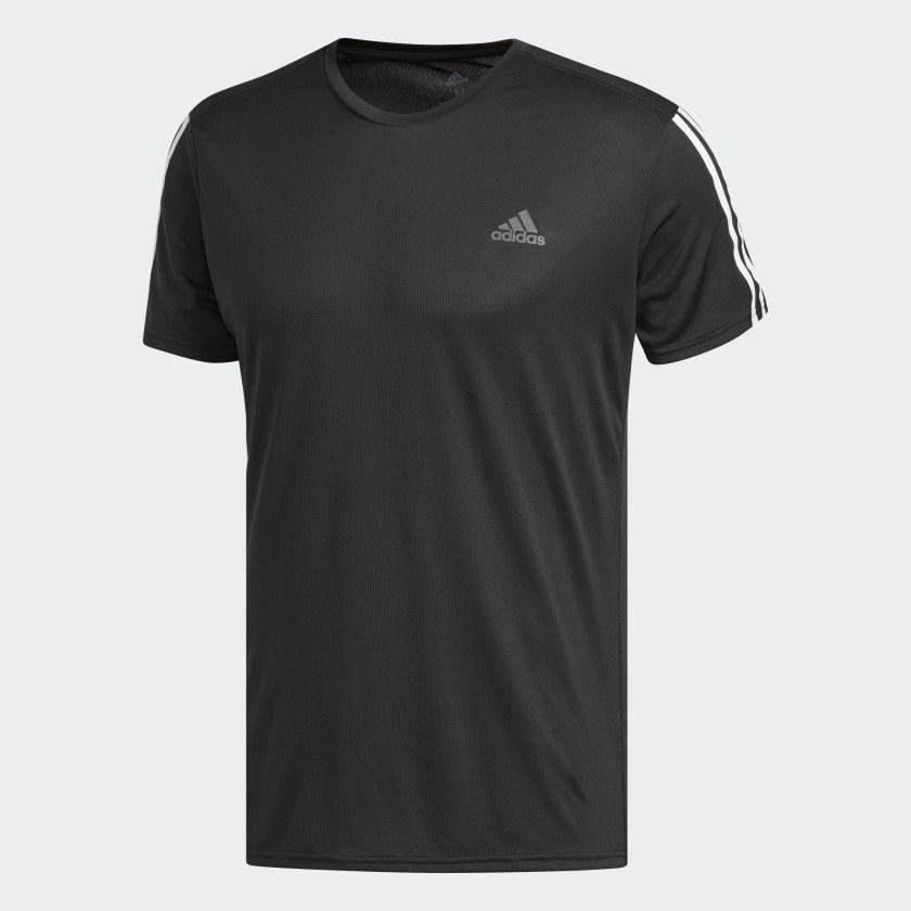 Cuaderno saltar electrodo  Camiseta Running 3 bandas negra y blanca para hombre | adidas España