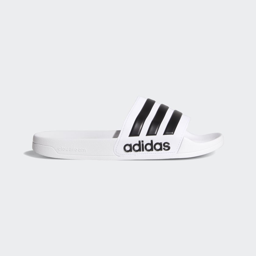 Meandro Delegar nuestra  Men's adilette White and Black Cloudfoam Slides | adidas US