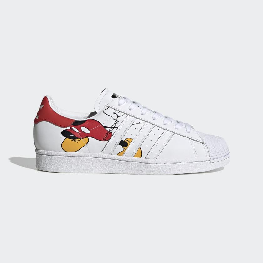 Turista Figura Artículos de primera necesidad  Disney Mickey Mouse White & Red Superstar Shoes | adidas US