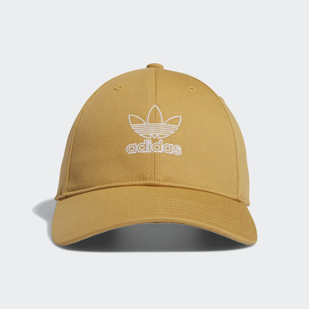 adidas Bring a hint to spring to any day of the year. The fresh color of this adidas hat is a welcome change of pace from the ordinary. An embroidered Trefoil logo outline puts an airy finishing touch to the relaxed, easy-to-wear feel.