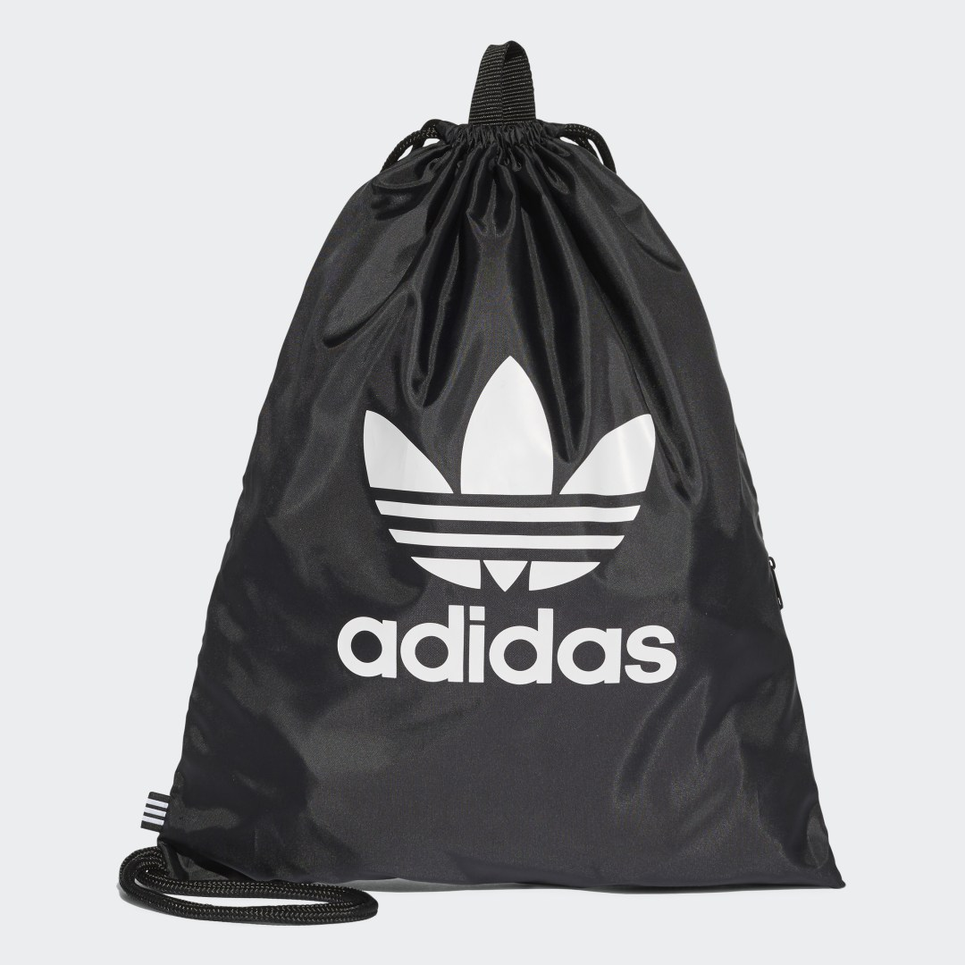 adidas This sporty gym sack features a simple, straightforward design. The tie cords cinch tight and double as carry straps. An inner zip pocket makes it easy to access your keys, wallet and phone.
