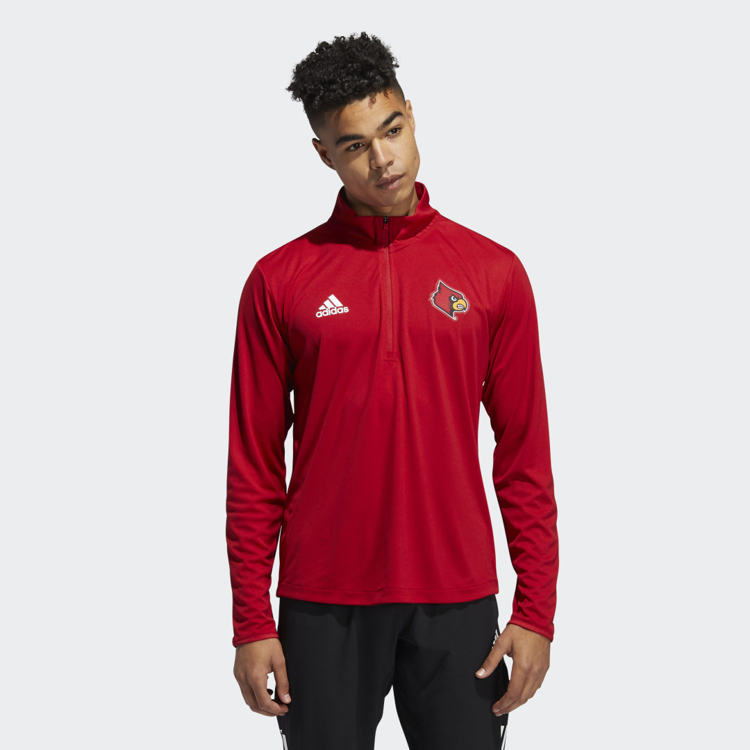 adidas Pull on some school spirit and let everybody know you\\\'re always going to root for Louisville. This adidas sweatshirt is made of durable polyester and manages moisture to keep you dry. A Cardinals graphic stands out on the chest. This sweatshirt is made of recycled materials as part of the adidas commitment to end plastic waste.