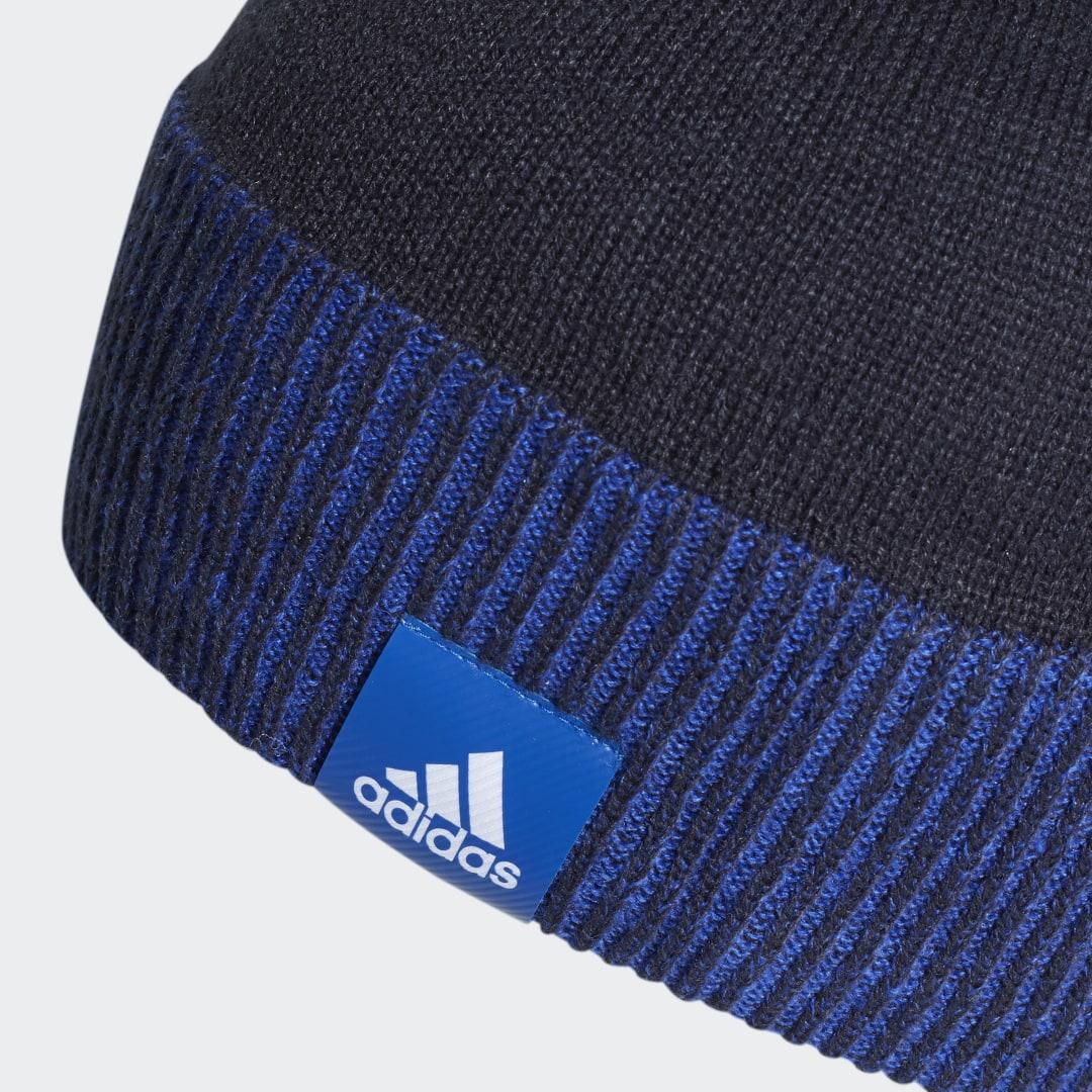 Сине белая шапка адидас фото