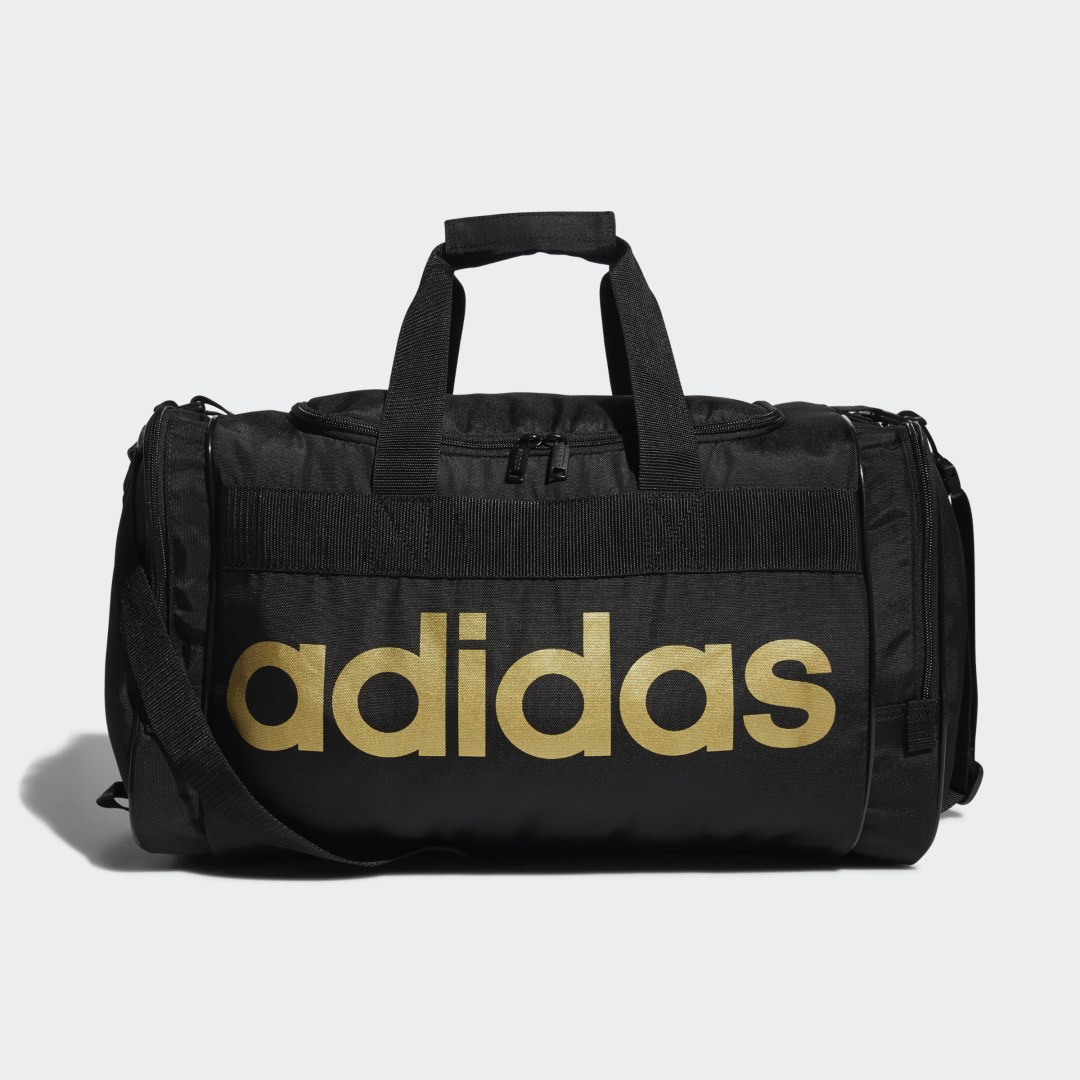 adidas Great for the gym, a weekend race or a competition, this adidas duffel bag keeps your gear stashed and organized. Zip pockets on both ends give you separate compartments for muddy shoes or damp clothes. Adjust the shoulder strap to get a personalized fit.