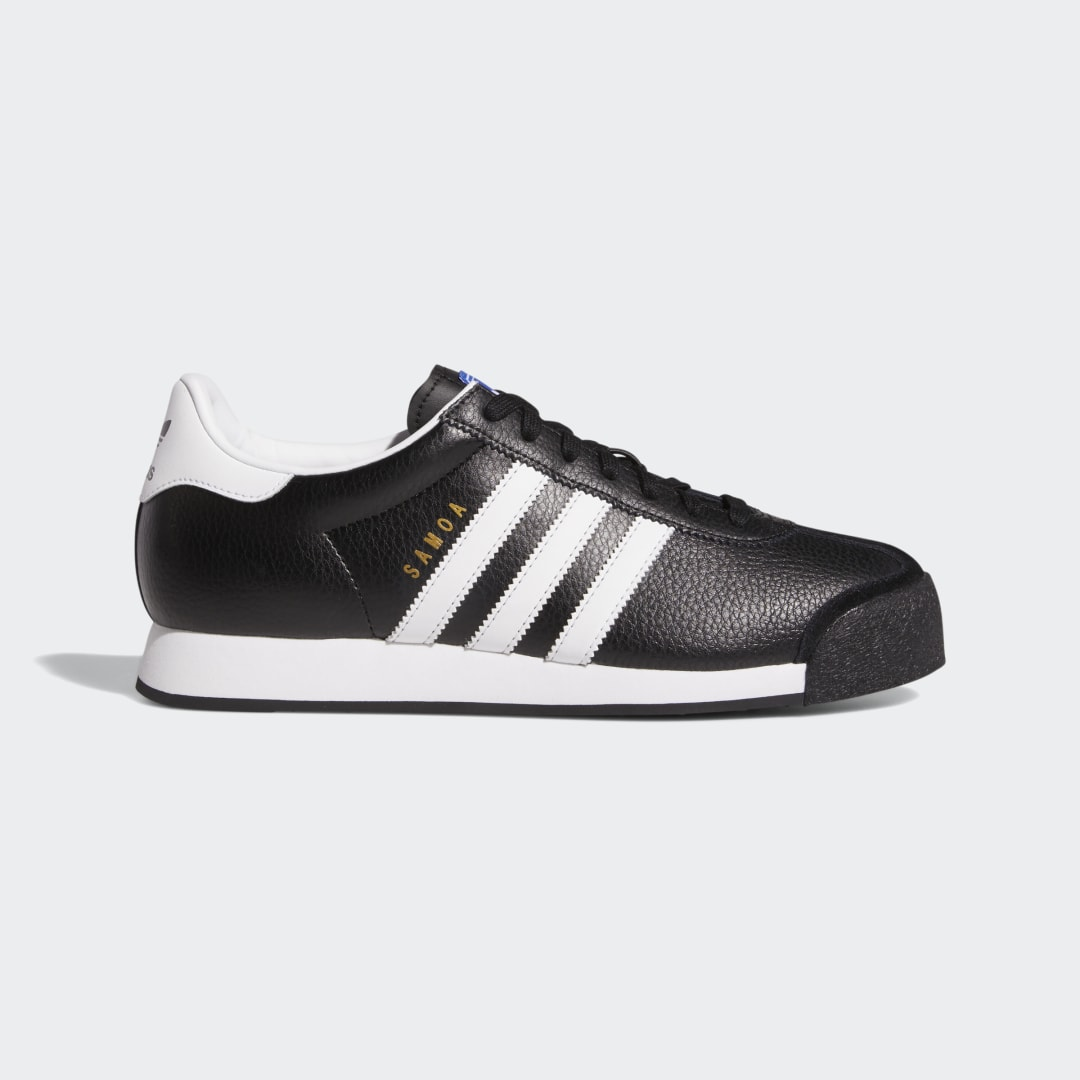 adidas With a slim shape and sleek feel, the Samoa is a casual streetwear classic. These shoes have a leather upper with contrast 3-Stripes and a Trefoil logo on the tongue. The rubber toe bumper is a Samoa signature. Everything rides on an EVA midsole for all-day comfort.