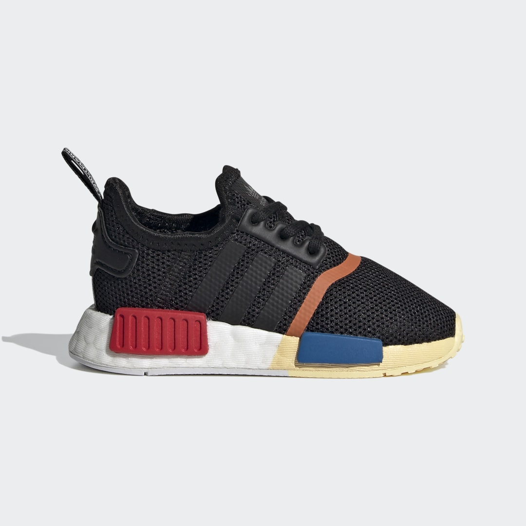 adidas The NMD_R1 combines the best of adidas racing heritage with next-gen technologies to create a bold modern classic. These toddlers\\\' \\\'80s-inspired shoes have an OG colorway in the back and an Oddity colorway in the front for a look that\\\'s rooted in heritage but with its own wild spin.