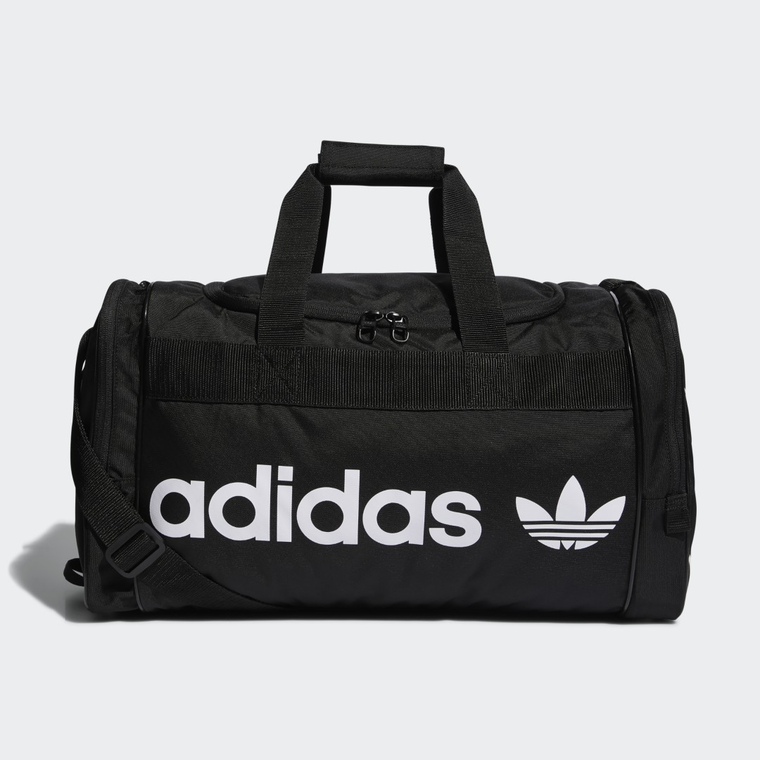 adidas Ready for the gym or a weekend getaway, this duffel bag offers plenty of room for your gear. Multiple zip pockets help keep things separate and organized. Handles and a shoulder strap offer multiple ways to carry.