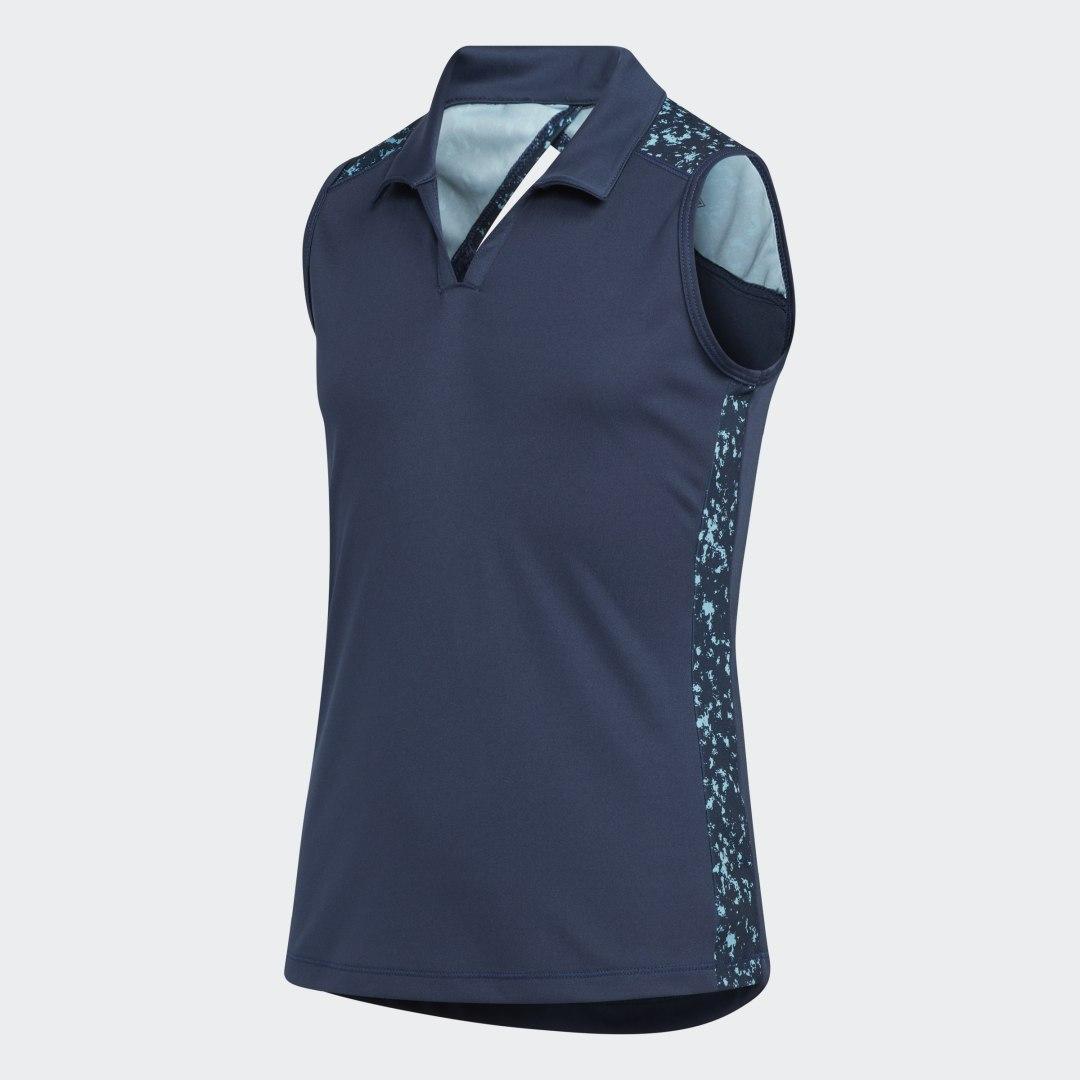 Printed Racerback Sleeveless Poloshirt