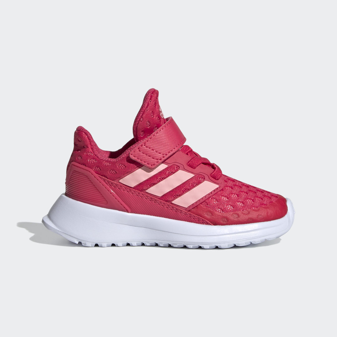 adidas Get their motor running. These infants\\\' adidas shoes offer the cool comfort of breathable mesh. Soft cushioning adds a smooth ride. An adjustable strap snugs up the fit. Sporty 3-Stripes finish the look.