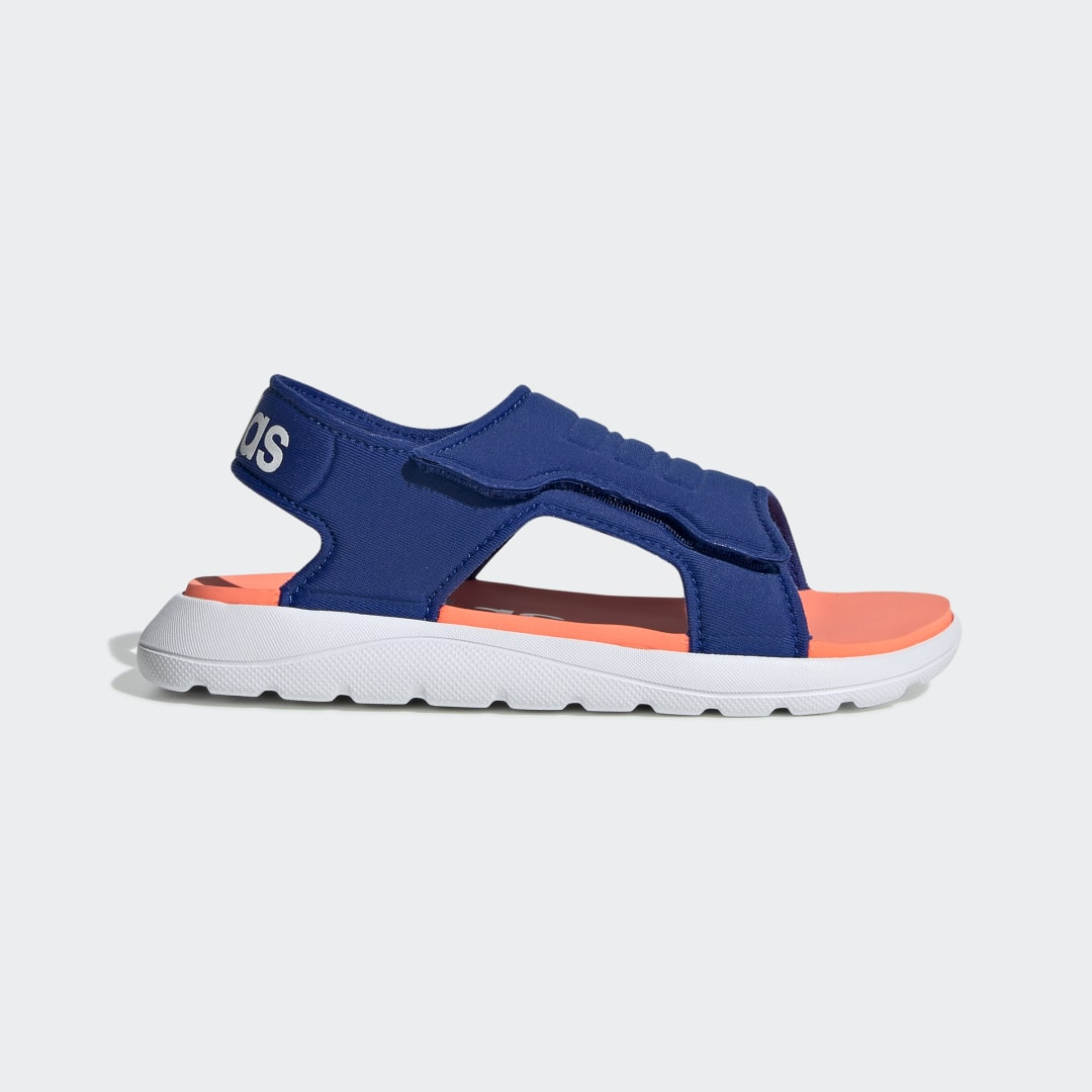 adidas They\'ll move from the pool to the beach house all summer long. These children\'s adidas sandals feature a durable upper that dries quickly after your little one gets splashed. A strap closure lets them easily adjust their fit.