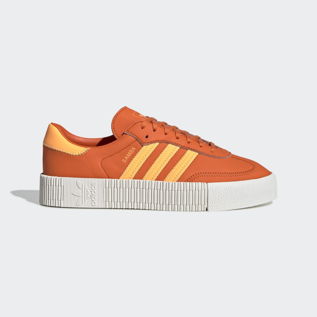 adidas A rising star from the soccer world. These shoes rework the Samba\'s classic soccer silhouette as stylish platform sneakers. The supple leather upper is stacked on top of a raised gum rubber outsole for a little extra height. Bright colors add to the fresh feel.