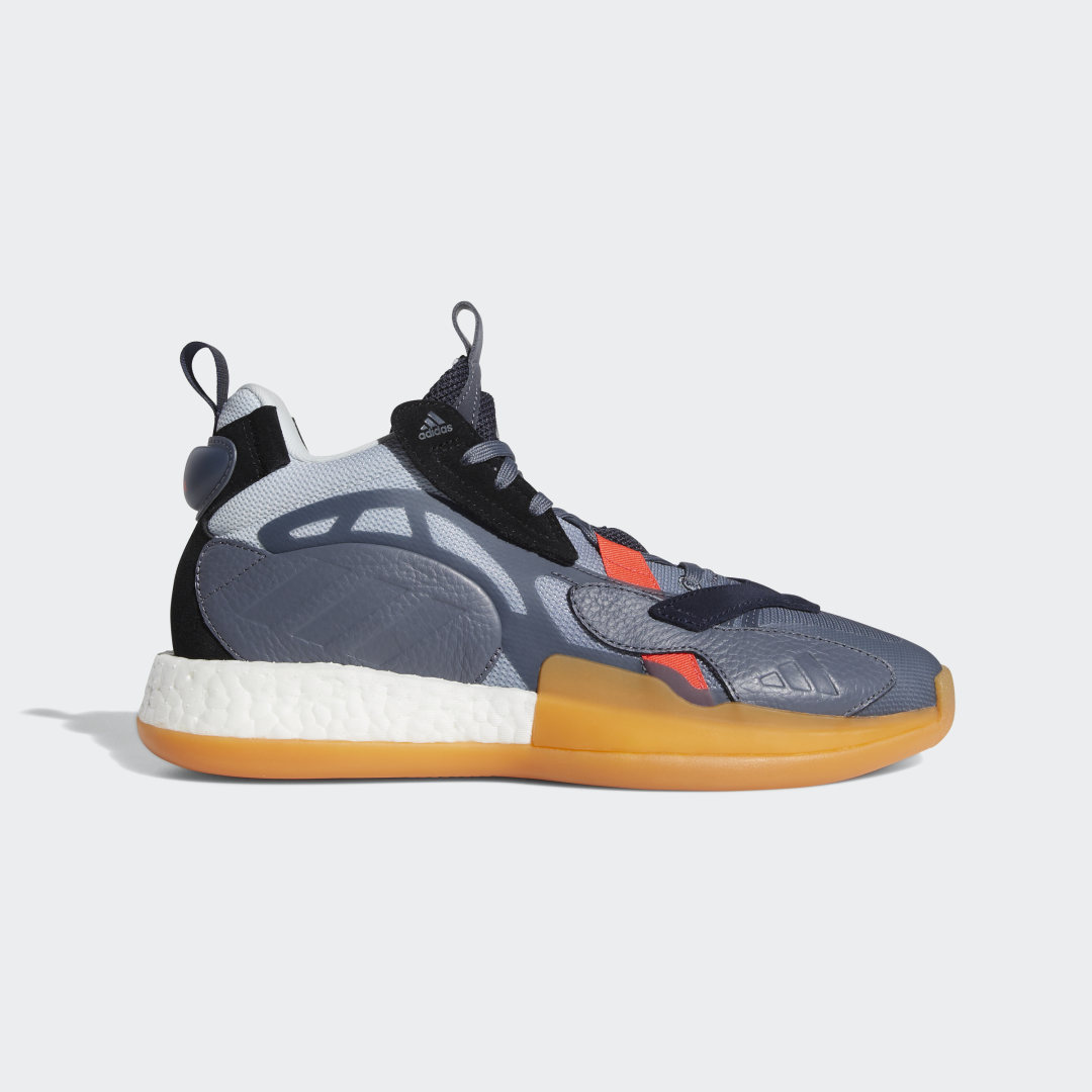 adidas Designed for casual comfort, these basketball shoes deliver a streetwear-inspired approach for the hardwood. They\\\'re built with a durable leather upper and feature a responsive Boost midsole for all-day, versatile wear. The rubber outsole provides extra grip to and from the court.