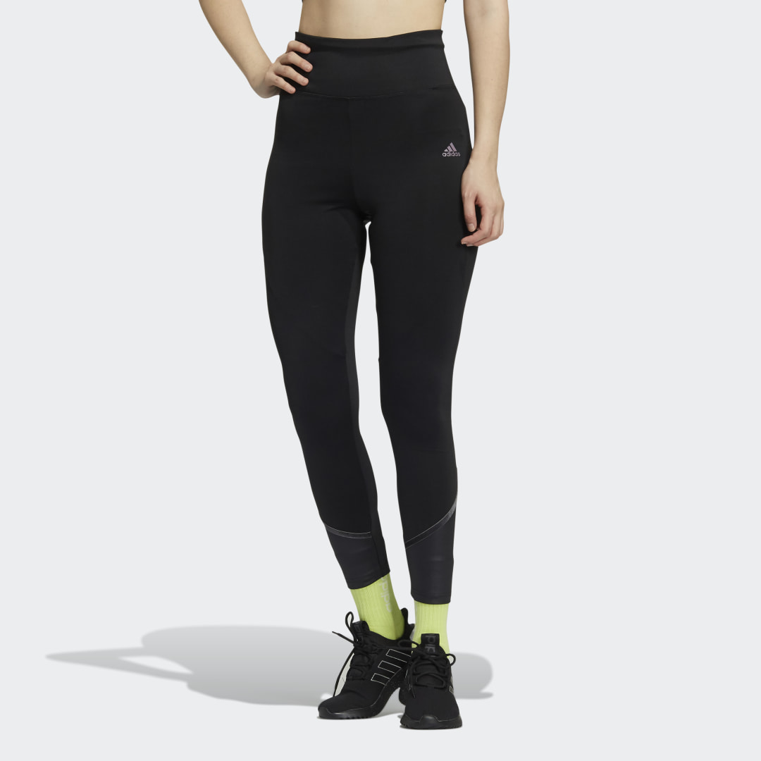 adidas From the running trail to the gym to the yoga studio, whatever your training session for the day may be, hit it hard in these versatile adidas tights. Stay comfortable and feeling fresh through every workout, while the printed pattern keeps your look on point. Made from recycled materials, these tights are a part of the effort to end plastic waste.