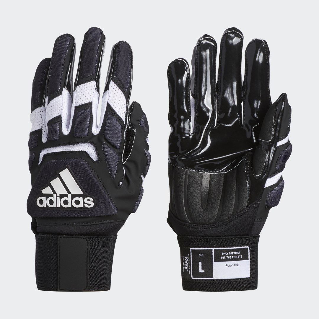 adidas These gloves are built to keep your hands comfortable so you can make plays at the line of scrimmage. Featuring a molded rubber tab with a no-snag hook-and-loop closure for easy on and off, these gloves have an elongated wrist band with a pull-loop adjuster to lock you in. Four-way stretch on the back of the hand provides outstanding flexibility.