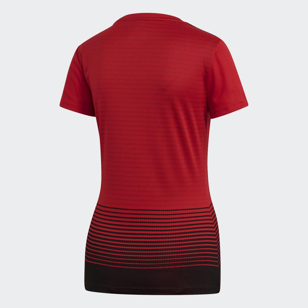 Фото 2 - Домашняя игровая футболка Манчестер Юнайтед adidas Performance красного цвета