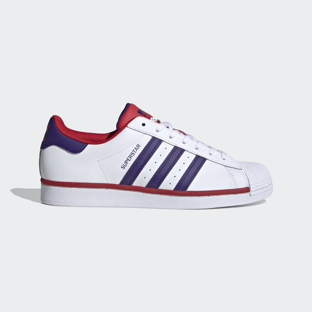adidas Originally made for basketball courts in the \\\'70s. Championed by hip hop royalty in the \\\'80s. An icon on the streets of today. A splash of contemporary collegiate color captures all the magic of the arena and pays homage to the most important basketball event of the year. Both a nod to the past and a cue to the new, graffiti inscription on the tongue celebrates the shoe\\\'s journey through history.The durable rubber shell toe that helped top players shoot hoops remains. Recognized the world over. The only challenge left? Make it your own.