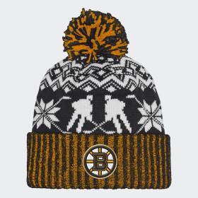 Bruins Ugly Sweater Cuffed Pom Beanie