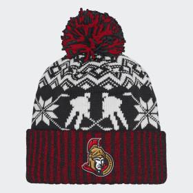 Senators Ugly Sweater Cuffed Pom Beanie