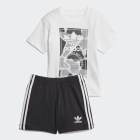 Conjunto camiseta y pantalón corto Camo Trefoil