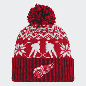 Red Wings Ugly Sweater Cuffed Pom Beanie