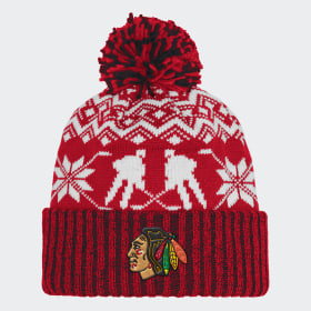 Blackhawks Ugly Sweater Cuffed Pom Beanie