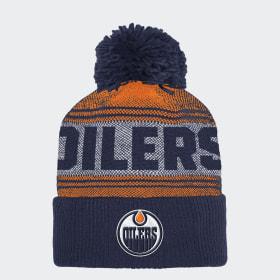 Oilers Cuffed Pom Knit Beanie