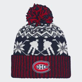 Bonnet Canadiens Ugly Sweater Cuffed Pom